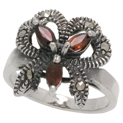 Sterling Silver Marcasite Ribbon (Sterling Silver Marcasite Ribbon Ring, w/ Natural Garnet, 3/4 inch (17 mm) wide, size 7.5)