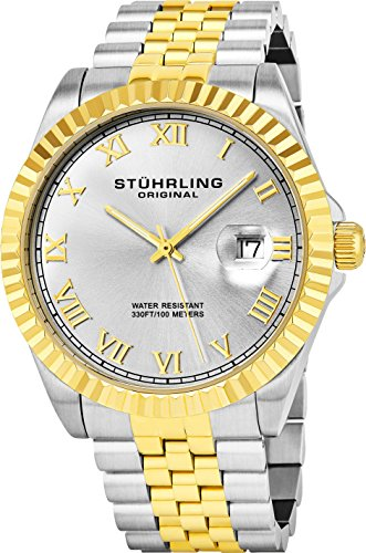Stuhrling Original Men's 599G.04 Analog Swiss Quartz Two-Tone Link Bracelet Watch ()