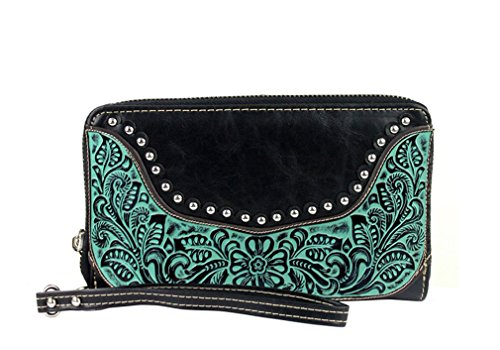 montana-west-tooled-leather-clutch-wallet-with-wristlet-strap-cc-organizer-black-turquoise