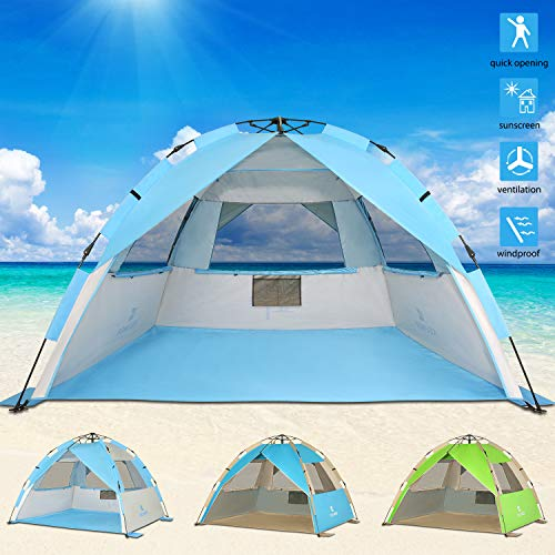 G4Free Upgraded Easy Setup Beach Tent Deluxe XL Sun Shelter with UPF 50 UV Protection, 4 Person Family Size Sun Shade Cabana for Camping Sports Fishing