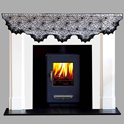 Vlovelife 20 x 80 Inch Halloween Fireplace Mantel Spider Cobweb Scarf Mysterious Lace Runner for Halloween Party Festival Scary Movie Nights