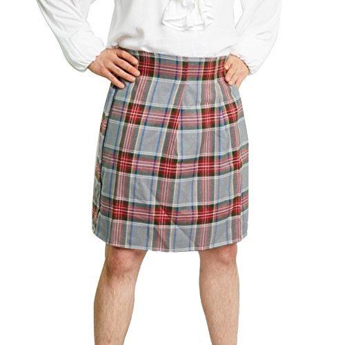 Men's Scottish Kilt Costume (Standard (30-38 in. Waist), Grey/Red)