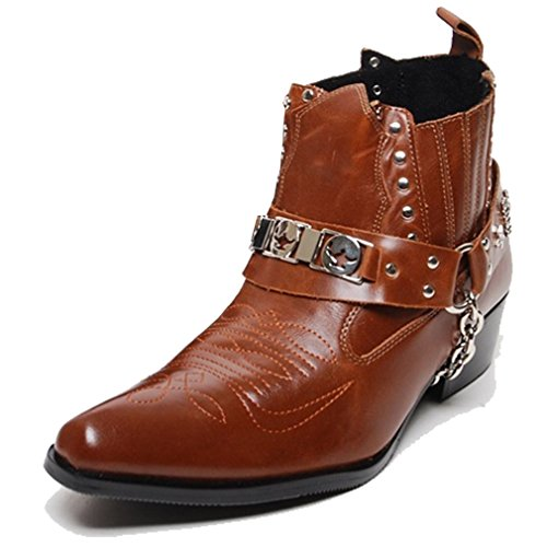 Epicsnob Mens Brown Cowboy Western Military Buckle Chain Riding Fashion Ankle Boots 9.5 M US