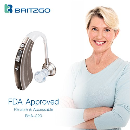 Britzgo BHA-220S Hearing Amplifier, Modern and Fashion Designed Adjustable Tube to Fit Both Ears, Silver Gray