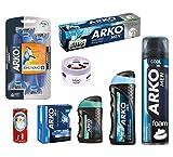 Arko Shaving Set (Cool Shaving-Foam, Extra Fresh Shaving Cream, Aqua Balm, Icemint Cologne, Cool Lotion, Yogurt and Blackberry Cream, Shave Soap, Razor)