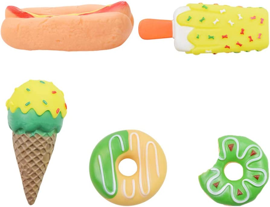 POPETPOP 5pcs Pet Squeaky Toy Pet Squeakers Vinyl Dog Squeak Toys Dog Teething Chewing Dolls Dessert Food Shaped for Dog Cat Pet New Year Favor Supplies Mixed Style