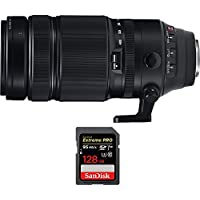 Fujifilm Fujinon XF100-400mm F4.5-5.6 R LM OIS WR Telephoto Zoom X-Mount Lens (16501109) with Sandisk Extreme PRO SDXC 128GB UHS-1 Memory Card, Up to 95/90MB/s Read/Write Speed