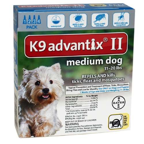 Advantix II Dogs 11-20 lbs, 4 Months, Teal 4 ea