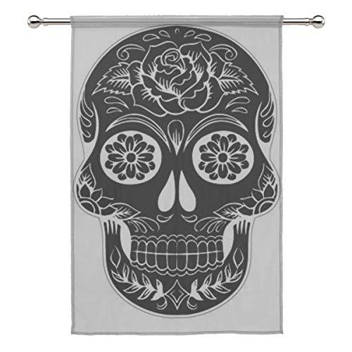 Your Home Sheer Curtain Drape Single Panel Skull