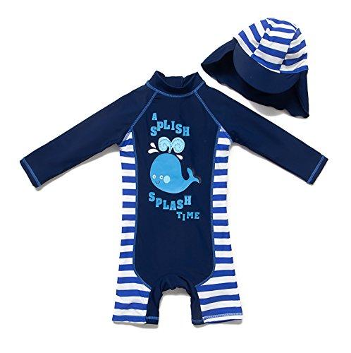 Bonverano TM Infant Boy's UPF 50+ Sun Protection L/S One Piece Zip Sunsuit (24-36 Mos, Fish) ()