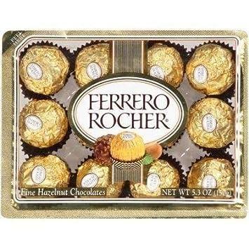 Amazon.com : FERRERO ROCHER ITALIAN CHOCOLATE HAZELNUT CANDY 12 PC ...
