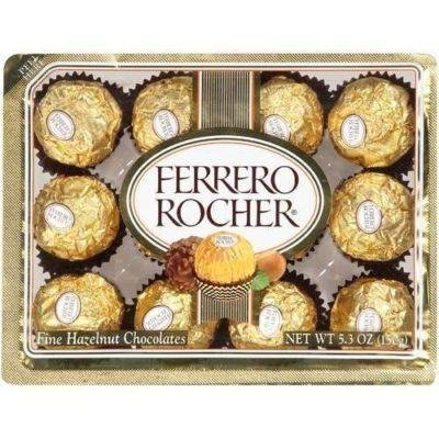Amazoncom Ferrero Rocher Italian Chocolate Hazelnut Candy 12 Pc