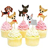 Dog Cupcake Toppers, Kid's Birthday Party Decorations Supplies, Cute Puppy Cupcake Toppers, Pets Theme Baby Shower, 48pcs