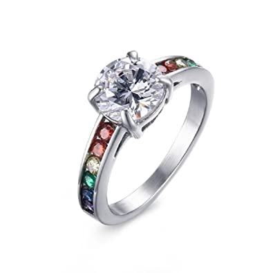 Kairuigeli Rainbow Ring With Cz Gay And Lesbian Pride Ring Lgbt