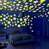 PHOTNO Wall Stickers Kid's Bedroom Glow in The Dark Stars for Ceiling Decal Fluorescent Decor for Living Room Bedroom Decoration 100PC (Yellow - 100PC)