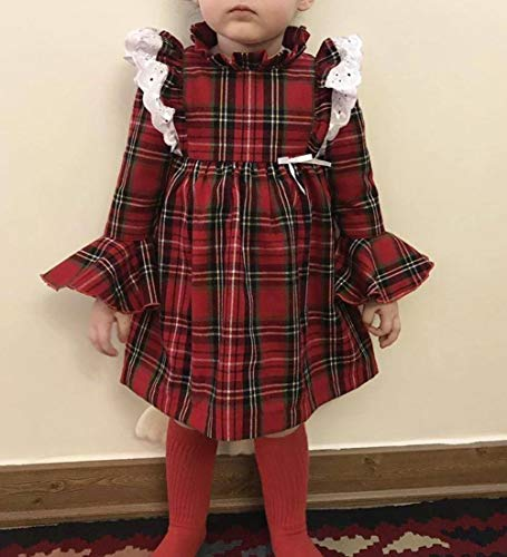 Carolilly Vestiti Sorella Grande e Piccola Natale Neonata Bambina Pagliaccetto in Pizzo Abito Principessa a Quadri Rosso… 2