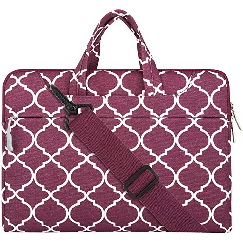 MOSISO Laptop Shoulder Bag Compatible 15-15.6 Inch MacBook Pro, Ultrabook Netbook Tablet, Canvas Geometric Pattern Protective Briefcase Carrying Handbag Sleeve Case Cover, Wine Red Quatrefoil