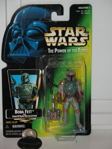 Fett Jet Pack - Star Wars Power of the Force Boba Fett Green Card Action Figure with Sawed-off Blaster Rifle and Jet Pack