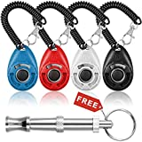 4 Pack Dog Training Clickers with Wrist Straps, DanziX Upgrade Pet Puppy Cat Bird Training Tools - Red, Black, White, Blue