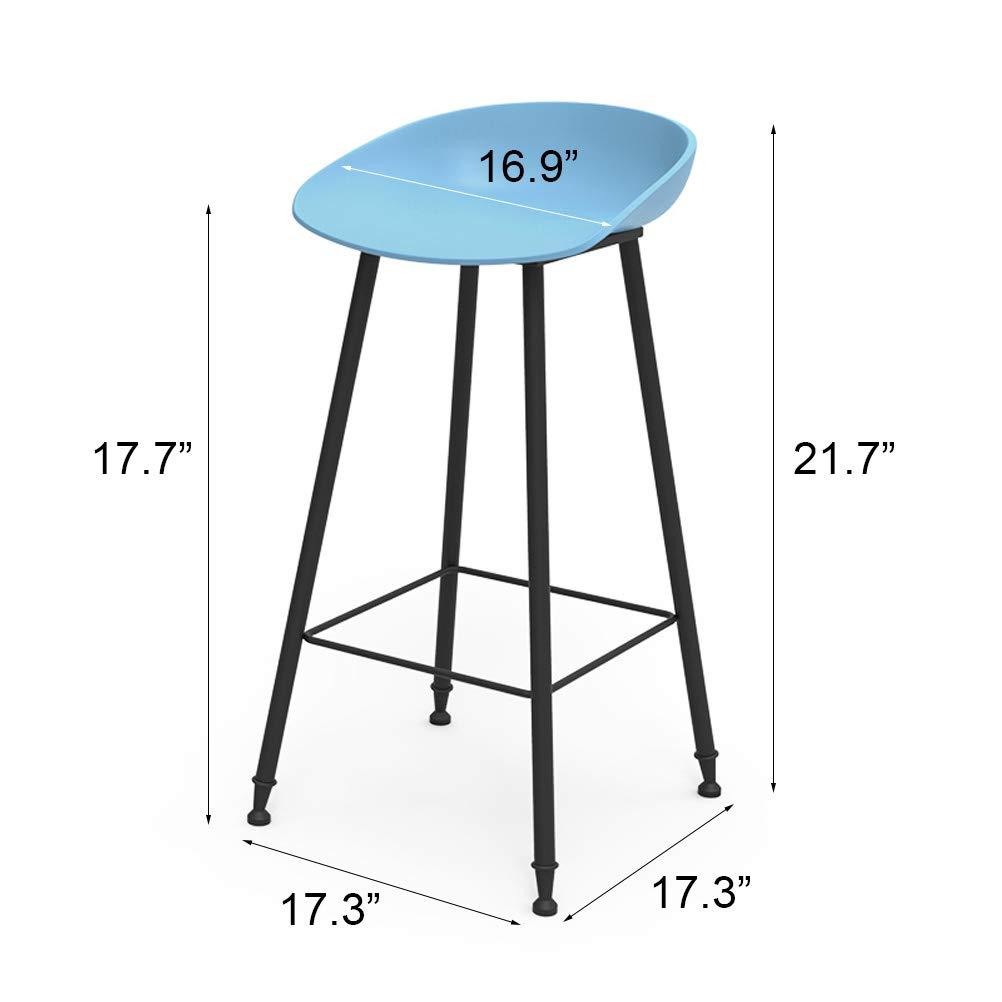 Altura De Pub Azul Tamaño : 65cm-25.6in Elegantes Taburetes De Bar con Respaldo Y Cojín Redondo