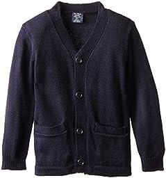 U.S. Polo Association Little Boys\' Long Sleeve V-Neck Classic Cardigan Sweater, Navy, 4T