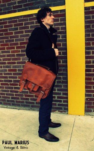 Retro amp; para MARIUS de con piel cuero bandolera escolar portátil Marrón Vintage LE de L cartera mochila Maletín CARTABLE hecho diseño bandolera de vintage PAUL 1xxFSgq0