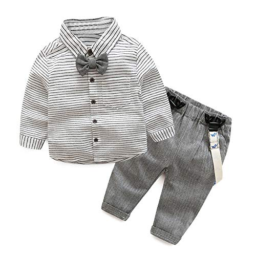 Tem Doger Baby Boys Long Sleeve Woven Striped Shirt+Bowtie+Suspender Pants with Straps Outfit