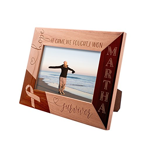 Personalized Survivor Picture Frame 4x6 Gift, It Came, We Fought, I Won Custom Engraved with Name | Breast Cancer Survivor ()