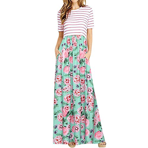 ♥ HebeTop ♥ Womens Summer Sleeveless Casual Floral Stripe Patchwork Maxi Dress with Pockets Green