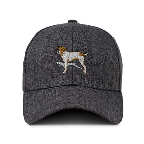 Twill Baseball Cap Jack Russell Terrier Dog B Embroidery Design Acrylic Casual Hats for Men & Women Hook & Loop Dark Grey Design Only ()