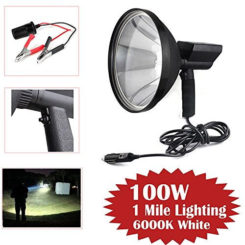 HID Spotlight Handheld High Power 100W 9 Inch 240mm 1 Mile Light Range Shooting for Fishing Camping Hunting Off Road + Battery Conversion Clamps