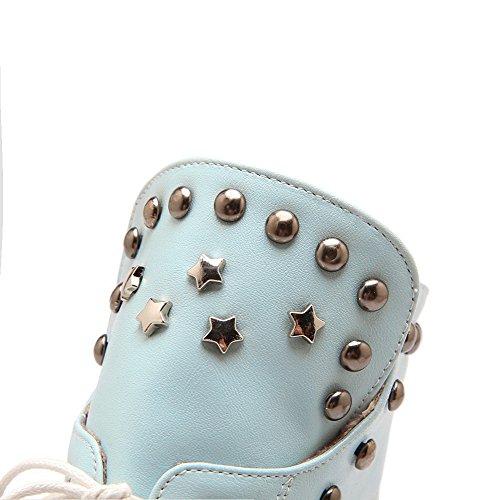 Allhqfashion Women's High-Heels Closed Toe Low-top Boots Blue gihpt3W
