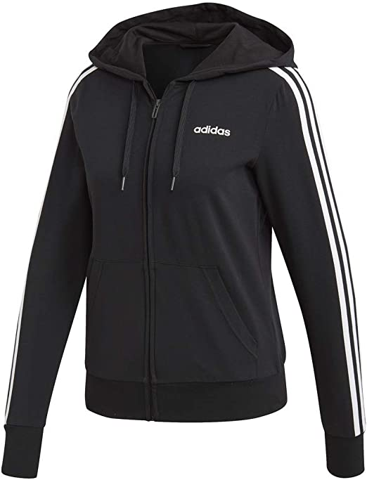 adidas Women's Essentials 3 stripes Single Jersey Full zip Hoodie