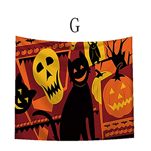 Feccile Art House Decor Tapestry Halloween Theme Night Pumpkin and Horror Ghost Town, Wall Hanging for Bedroom Living Room Dorm,1PC (93x75cm/36.6x29.5) (G)