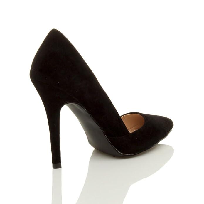 Damen Hoher Absatz Stiletto Spitz Ausschneiden D'orsay Pumps Schuh Größe 3 36 zOGTzg