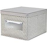 InterDesign Chevron Fabric Closet/Dresser Drawer Storage Organizer, Box for Clothing, Shoes, Handbags, Jeans - Large, Taupe/Natural