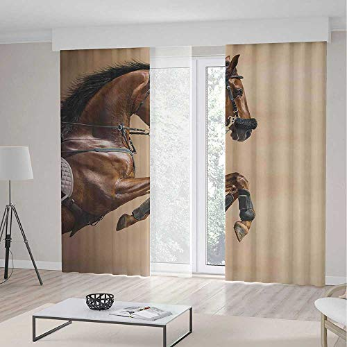 (TecBillion Small Window Blackout Curtains,Horses,for Bedroom Living Dining Room Kids Youth Room,Chestnut Color Horse Jumping in Hackamore Life Force Power Honor Love Sign Print,79Wx94L Inches)