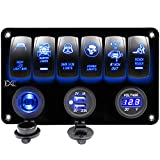 5 gang rocker switch panel - FXC 6 Gang Rocker Switch Panel with Digital Voltmeter+12V Power Socket +Double USB Power Charger Adapter Waterproof Blue LED Backlight for Car Trailer Marine Boat¡­ (6 Gang