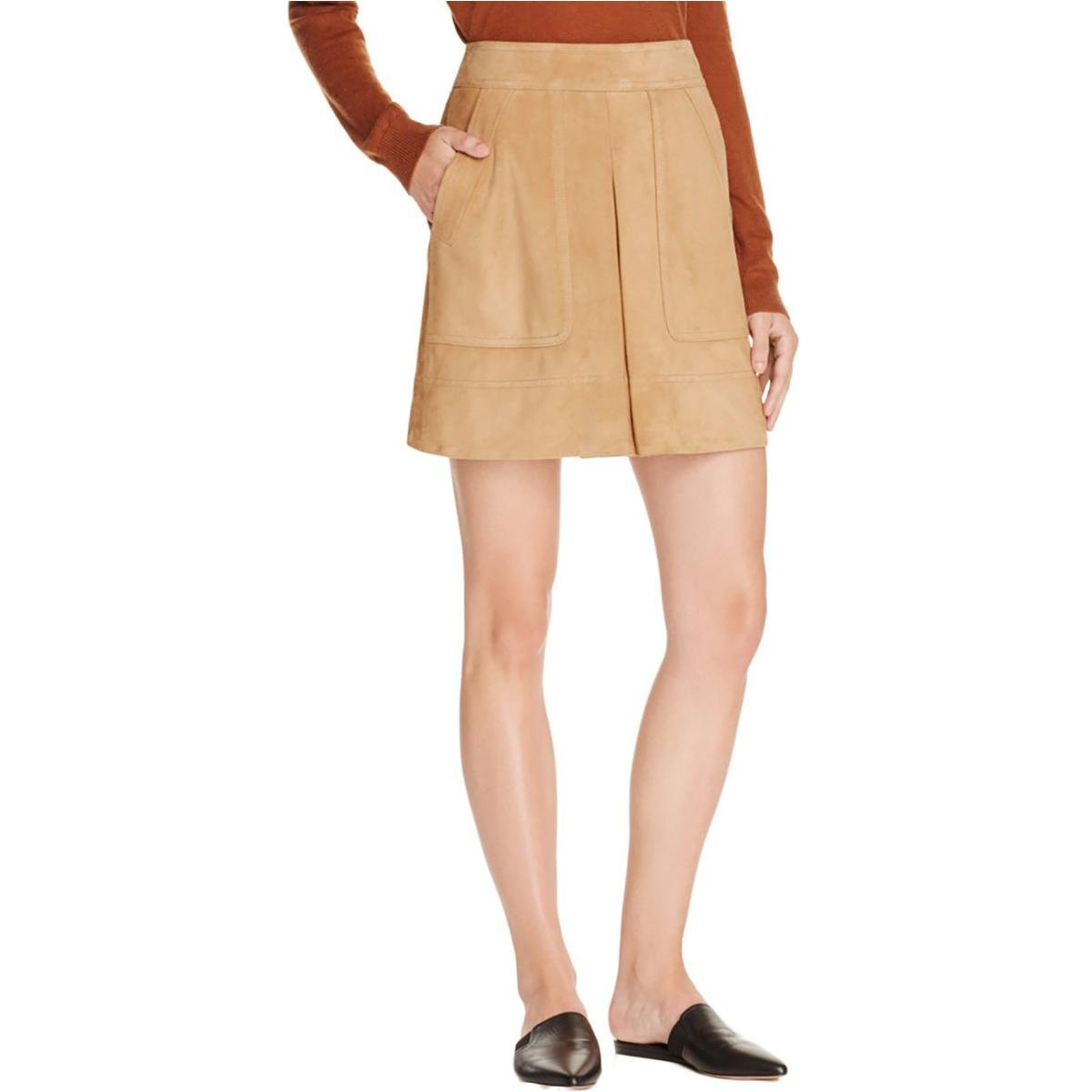 Vince Womens Sue Leather Inverted Pleat A-Line Skirt Tan 12
