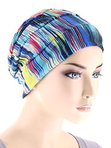 Chemo Cap Womens Beanie Sleep Turban Hat Headwear for Cancer in Blue Bahamas Sunset