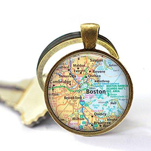 Map of Boston Massachusetts - Map Jewelry - Map Keychain - Boston Keychain - Map Keychain]()