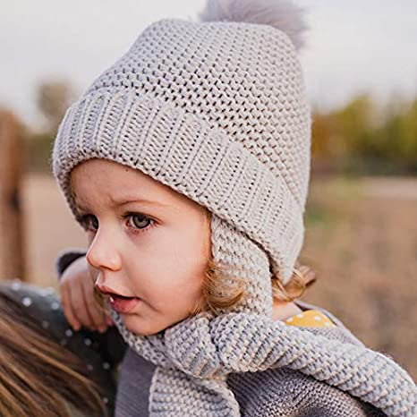 Gorro Bufanda Punto con Pompom de Pelo para Bebes y niños. Gorrito Invierno Frio Que Cubre Orejas y Garganta. Gorro Calido Ajustable y Calido para el ...