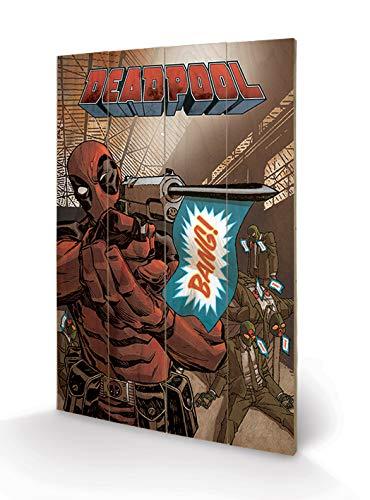 Pyramid International Deadpool Bang Wood Print 40 x 59cm 40 x 59 x 1.3 cm Multi-Colour