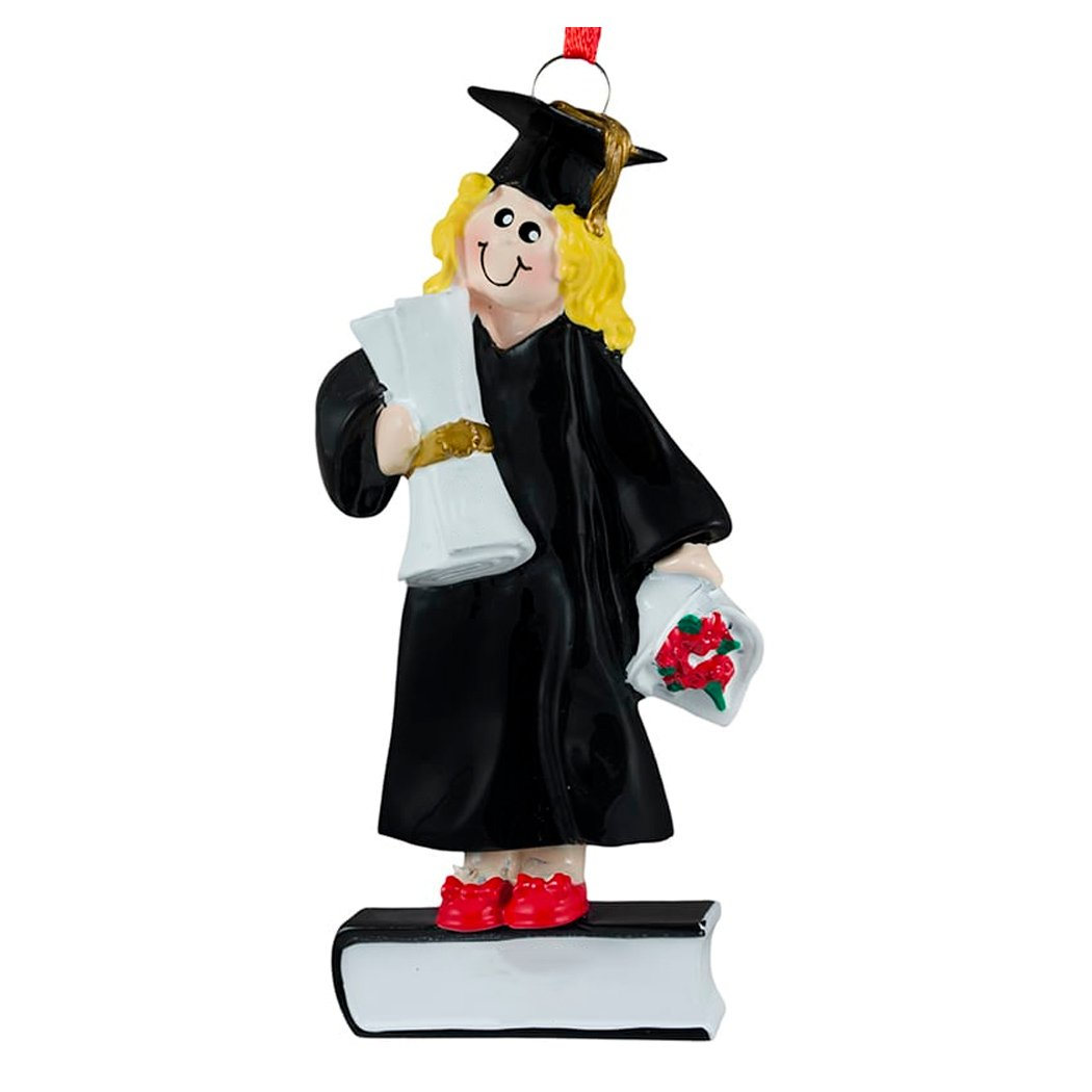 Personalized Graduate Girl Christmas Ornament 2018 - Blonde Woman in Dress with Diploma on Book - Female Under-Graduation PhD Masters Degree New End School Teen - Free Customization (Yellow Hair)