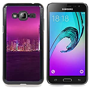 "Qstar Arte & diseño plástico duro Fundas Cover Cubre Hard Case Cover para Samsung Galaxy J3(2016) J320F J320P J320M J320Y (Glow Ciudad Púrpura Cielo"")"