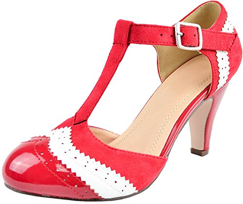 Cambridge Select Women's Closed Toe T-Strap Wingtip Style Cut Out Mid Heel Dress Pump (9 B(M) US, Red/White) - Vintage Womens Pumps