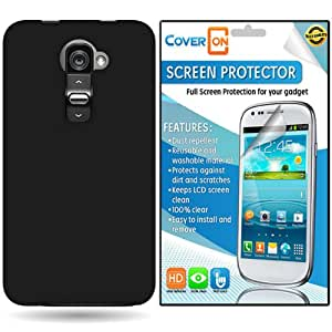 CoverON LG G2 VS980 (Verizon Only) Hard Rubberized Slim Case Cover Bundle with Clear Anti-Glare LCD Screen Protector - Black