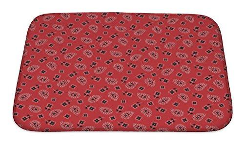 Gear New Red Bandana Paisley Pattern Bath Rug Mat No Slip Microfiber Memory Foam (Rug Bandana)