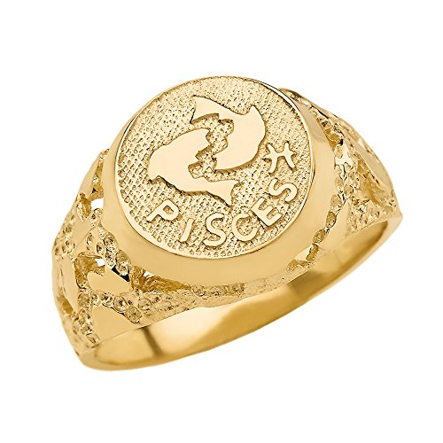 Solid 14k Yellow Gold Pisces Zodiac Sign Band Nugget Men's Ring (Size 14.25) 14k Zodiac Sign Ring