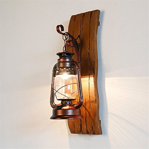 JhyQzyzqj Wall Sconce Wall Lights Living Room American Rustic Bedroom Bedside lamp Wall lamp Nordic Living Room Solid Wood Iron Kerosene Lamps ma lamp Wooden Carved Glass Wall Lights